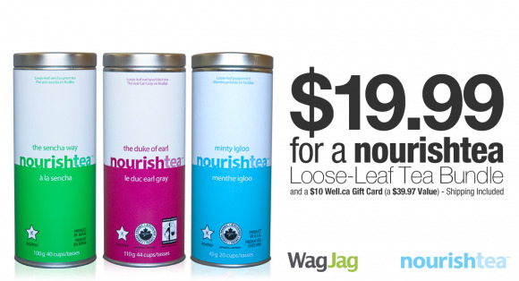 WagJag: $19.99 for 3 nourishteas & $10 Well.ca Gift Card